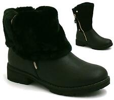LADIES WOMENS ARMY COMBAT FLAT GRIP SOLE FUR LINED CALF ANKLE BOOTS SHOES SIZE
