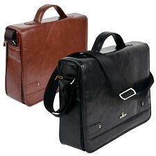 MENS BRIEFCASE SHOULDER BAG PU LEATHER PILOT CARRY CASE SATCHEL WORK EXECUTIVE
