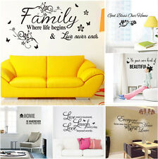 Black Words Pattern Design Decor PVC Life Family Dream Home Quote Wall Sticker