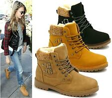 WOMENS ANKLE BOOTS FUR LACE UP BUCKLE WINTER FASHION LADIES SHOES SIZE