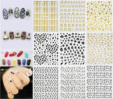 Lots 3D Gold Black Stickers Nail Art Tip Decal DIY Stamping Manicure Decoration