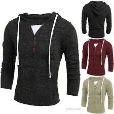 Mens Slim Fit V-neck Knitted Cardigan Pullover Hoodies Jumper Sweater Coat Tops