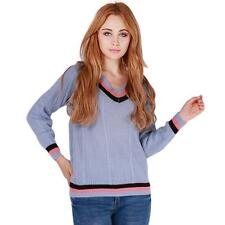 Fashion Women V-Neck Long Sleeves Preppy Style Knitted Pullover Jumper Sweater B