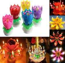 Happy Birthday Magical Blossom Lotus FLOWER Musical Rotating Candle Flower Gift