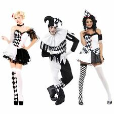 Sexy Harlequin Jester Clown Costume Black & White Couples Halloween Fancy Dress