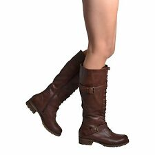 New Women's Knee High Boots Faux Leather Lace Up Combat w/ Buckle Straps Brown