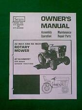"SEARS CRAFTSMAN TRACTOR 42"" & 48"" MOWER DECK MANUAL"