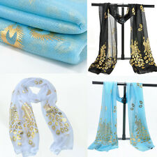 Woman's Long Embroidered Wrap Shawl Gold Peacock Flower Soft Lace Scarf Stole