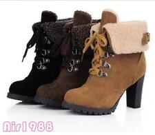 New Womens Winter High Heels Platform Lace Up Ankle Boots Casual Shoes US Size