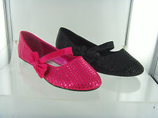 Ballerina Bow Sequin Cutie Black & Pink Slip On Party Dress Girls Shoes Size 8-2