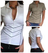 New Blouse Womens Shirt Tops Short Sleeve Long Casual Top Size 10 12 14 16 18 20