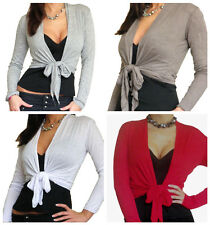 Ladies Cardigan Womens Bolero Tie Top Long Sleeve Crop New Tops Size 8 10 12 14