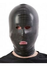 Black HEAVY WEIGHT Latex Hood/Mask Open EYES NOSE MOUTH / Made in UK / 109a-hw