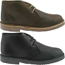 MENS ROAMERS BLACK BROWN CLASSIC DESERT LEATHER BOOTS ROUND TOE LACE UP M675 KD