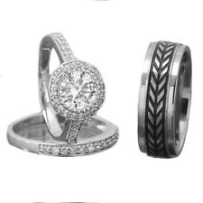 Men's Women's Titanium Silver 925 Cubic Zirconia Wedding Ring Set His & Hers