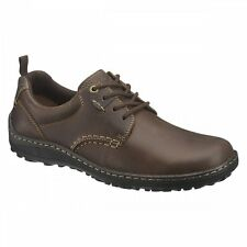 Hush Puppies BELFAST OXFORD PT Mens Plain Leather Dual Fit Outdoor Shoes Brown
