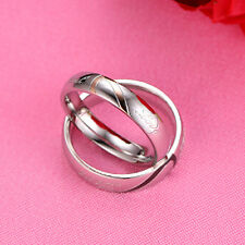 1PC Newest Couple Rings Forever Love Heart Titanium Steel Wedding Promise Band