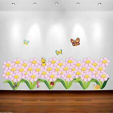 Flowers Butterfly Bugs Full Colour Wall Sticker Bedroom Decal Transfer Graphics
