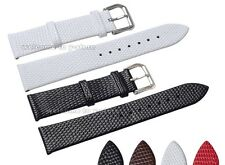 12~20mm Genuine Leather Lizard Grian Stainless Steel Clasp Watch Band Strap