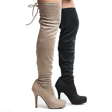 Deceive Over The Knee Almond Toe Corset Lace Pull On Stiletto Heel Boots