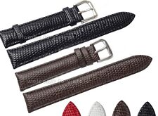 12~20mm Genuine Leather Lizard Grian Stainless Steel Buckle Watch Band Strap