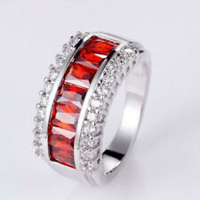 Gorgeous Jewelry Multi-gems Natural Fire Red Garnet Gems Silver Ring Size 7 8 9