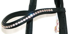 FSS 6mm Crystal SILK LIGHT PEACH ROSE Bling Padded Curve V Browband Custom Made