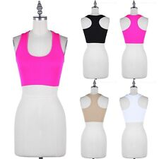 Seamless Ribbed Racerback Sleeveless Bralette Cropped Tank Top Casual ONE SIZE