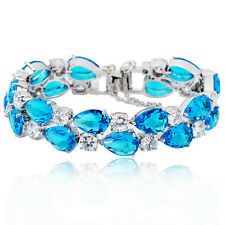 Aquamarine CZ Tennis Bracelet 10KT White Gold Filled Bangle Engagement Jewelry