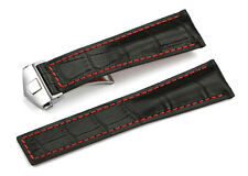 22mm Calf Leather Alligator Grain Deployment Watch Band Strap For TAG Heuer