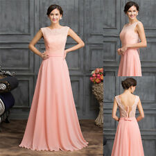 Backless Long Chiffon Evening Formal Cocktail Bridesmaid Prom Gown Wedding Dress