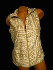 NWT – French Laundry – Cozy White and Tan Micro Fleece Zip Front Print Vest