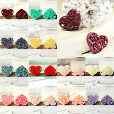 Resin Cabochons Links 15x13mm Flat back love Heart Peony Flower cameo wholesale