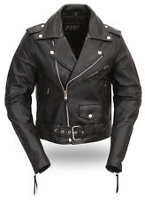 First Manufacturing Bikerlicious Women's Classic Black Leather Motorcycle Jacket