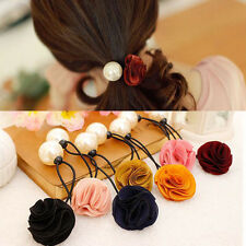 Fashion Women Girl Pearl Rose Flower Hair Band Rope Scrunchie Ponytail Holder