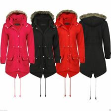 NEW LADIES WOMENS KIDS TRENCH FUX FUR HOODED FISHTAIL PARKA JACKET PLUS SIZE
