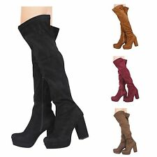 WOMENS LADIES BLOCK HIGH HEEL ZIP OVER THE KNEE HIGH THIGH STRETCH BOOTS SHOES