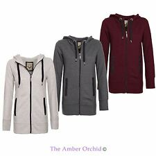 BRAVE SOUL PLAIN HOODIE LADIES WOMENS HOODED ZIP TOP ZIPPER SWEATSHIRT JACKET