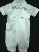 Baby Boy Girl White Satin Christening Baptism Romper & Bonnet | Size 0000 to 0 |
