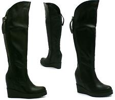 WOMENS OVER THE KNEE HIGH PLATFORM MID HEEL WEDGE LADIES BOOTS SIZE 3 4 5 6 7 8