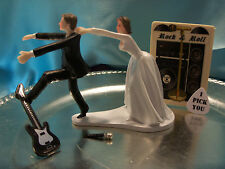 HUMOROUS Bride Groom Wedding Cake Topper MUSIC GUITAR Rock & Roll N Band Record