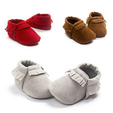 Suede Leather Cute Baby Girls Boys Toddler Infant Tassel Moccasins Shoes 0-18M