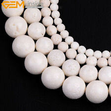 "Natural White Coral Beads Jewelry Making Gemstone Strand 15"" Round Spong"