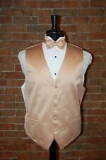 MENS XL GOLDEN YELLOW TUXEDO VEST / BOW or TIE by CARDI  SOLID SATIN