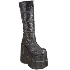 "DEMONIA STACK-301G 7"" Platform Goth Cyber Punk Patched Glitter Knee High Boot"