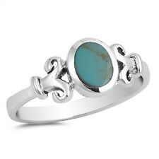Celtic Oval Turquiose  .925 Sterling Silver Ring Sizes 5-10