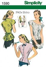 Simplicity Ladies Sewing Pattern 1590 Vintage Style 1940's Blouse Tops (Simpl...