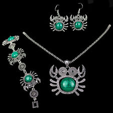 One Set Turquoise Party Jewelry Vintage Silver Crab Necklace Bracelet Earrings