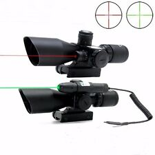 2.5-10x40 Rifle Scope with Red/Green Laser Dual Illuminated Mil Dot Rail Mount