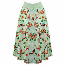 Womens Lush Green Tropical Floral 50s Vintage Pinup Flared Swing Skirt